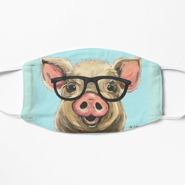 Cute pig with glasses art Flat Mask