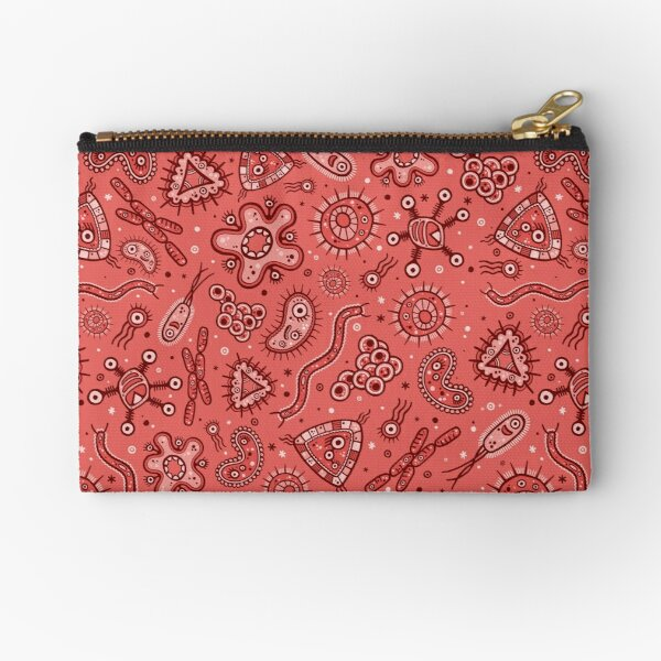Cartoon Microbes - Red / Pink Zipper Pouch
