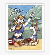 Yes I can has Cheeseburger Cat Girl Shirt Sticker
