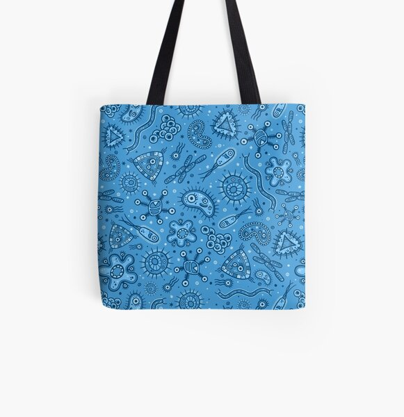 Cartoon Microbes - Blue All Over Print Tote Bag
