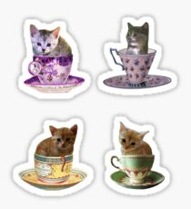 Kittens In Cups Stickers Sticker