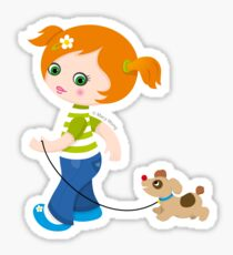 Little girl with dog Sticker