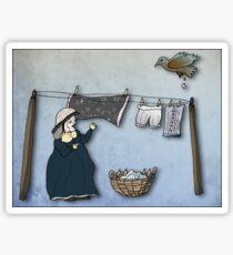 the washer woman & her nemesis... (oh crap!) - sticker Sticker