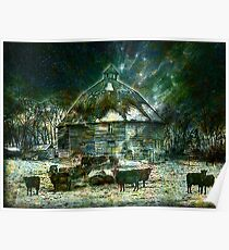 WINTERY ~ AT 10 SIDED BARN Poster