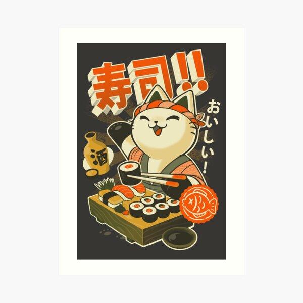 Sushi Chef Cat - Funny Restaurant Kitty - Japanese Food Art Print