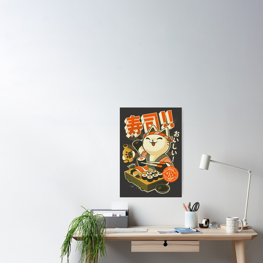 Sushi Chef Cat - Funny Restaurant Kitty - Japanese Food Poster
