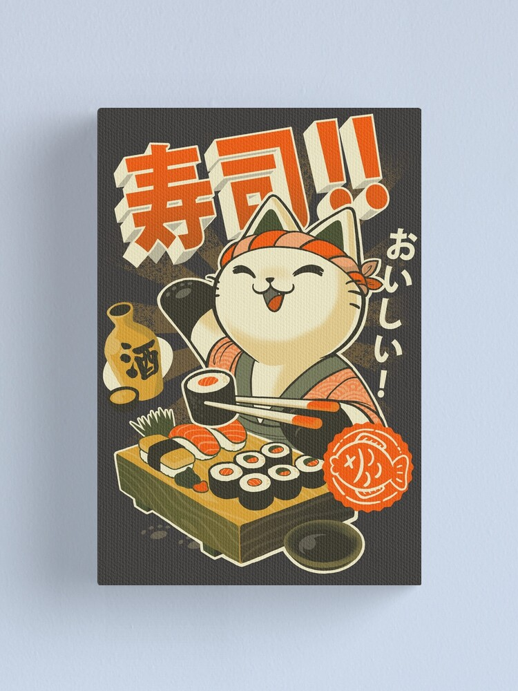 Alternate view of Sushi Chef Cat - Funny Restaurant Kitty - Japanese Food Canvas Print