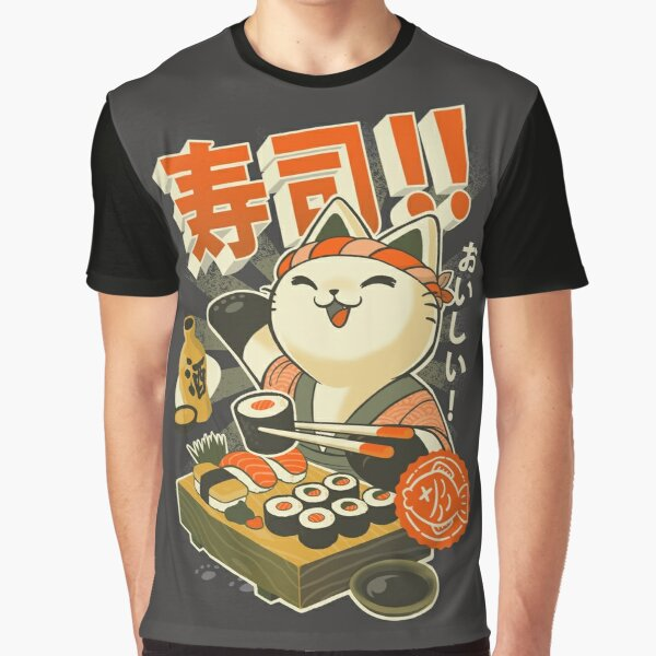 Sushi Chef Cat - Funny Restaurant Kitty - Japanese Food Graphic T-Shirt