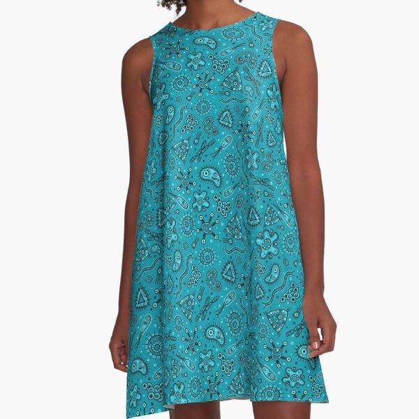Cartoon Microbes - Teal A-Line Dress