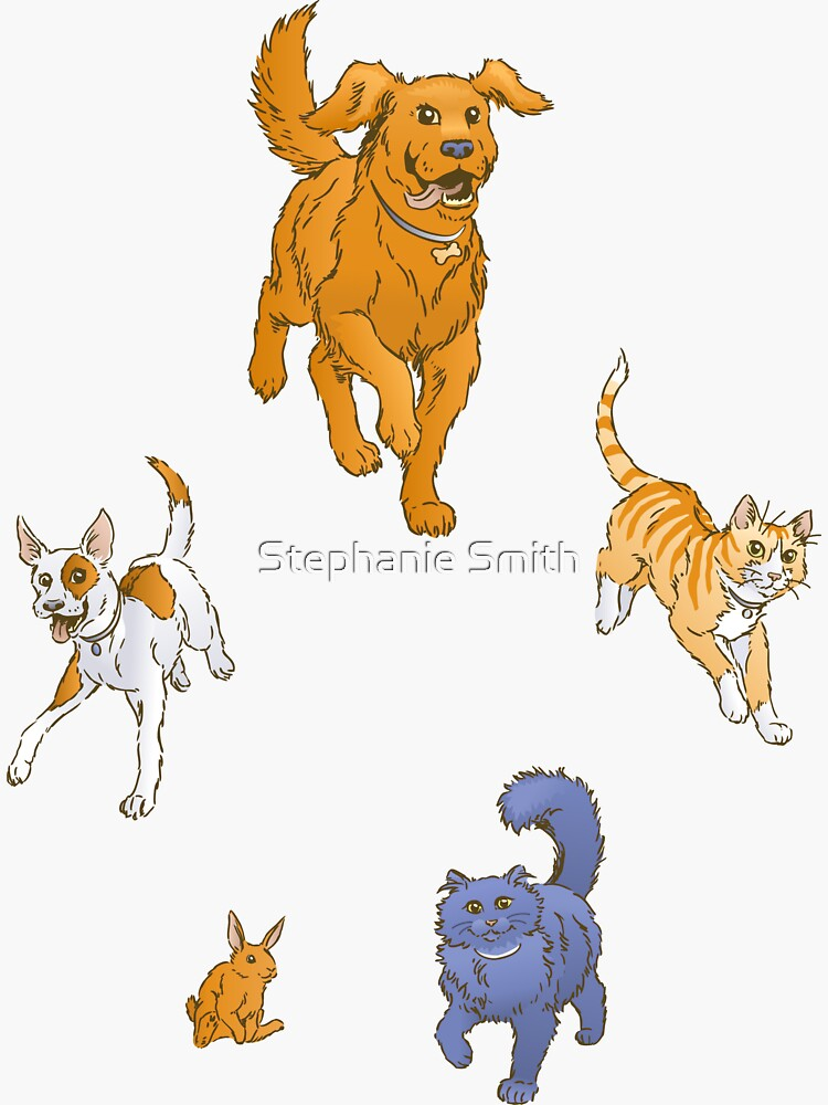 Pets on the March Stickers by stephsmith