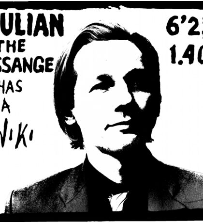 Julian Assange has a Wiki Sticker