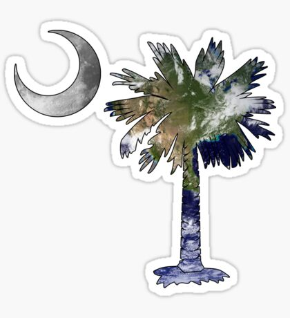Earth and Moon Palmetto Moon Sticker