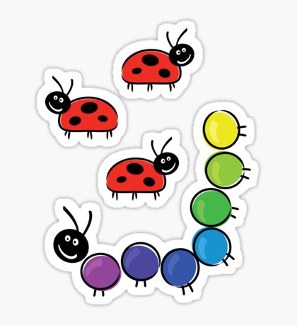 caterpillar and ladybugs Sticker