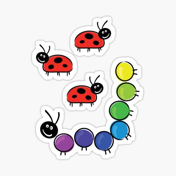 caterpillar and ladybugs Sticker