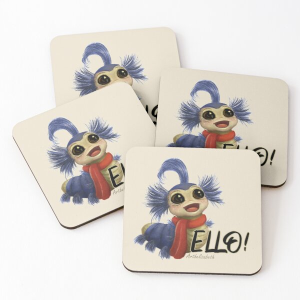 Labyrinth Worm Coasters (Set of 4)