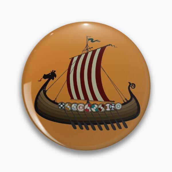 Silver Viking Longship Lapel Pin Badge Historic Battle Vikings Boat Ship New