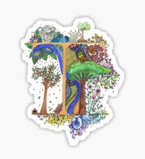 T - an illuminated letter Sticker