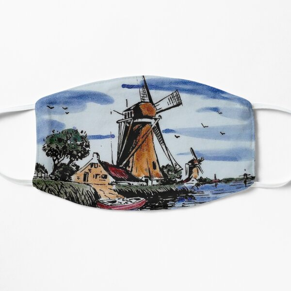 DUTCH BLUE DELFT : Vintage Colorful Windmills and boat on River Print Mask