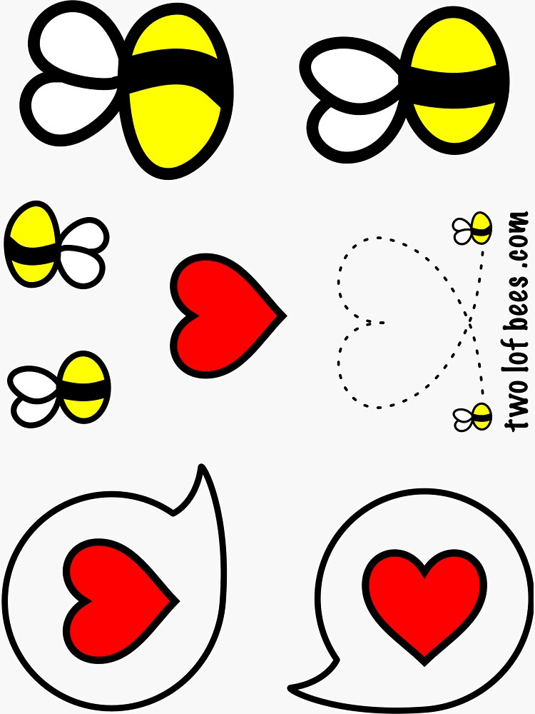 Lof Bees & Heart Bubbles - two lof bees by Cheeseness
