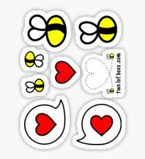 Lof Bees & Heart Bubbles - two lof bees Sticker