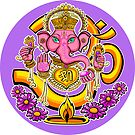 Ganesh sticker round by Jacqueline Gwynne