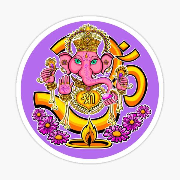 Ganesh sticker round Sticker