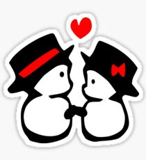 cute snowman couple vector art Sticker