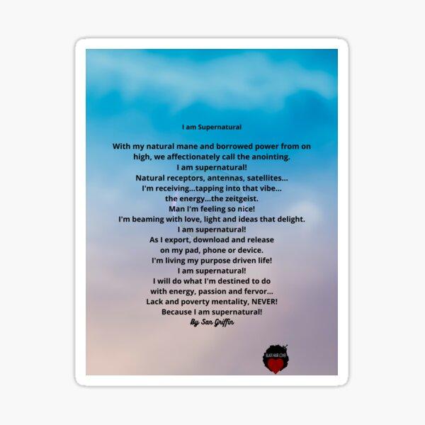 I am supernatural poem Sticker