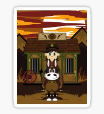 Cute Cowboy Sheriff on Horse at Jailhouse Sticker