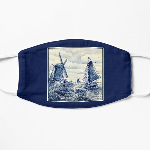 DUTCH BLUE DELFT : Vintage Sailboat and Windmills Print Mask