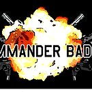 Commander Badass Logo - Black Sticker by boomshadow
