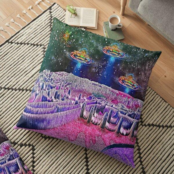 Intergalactic Airport Of Galaxia Mystica Floor Pillow