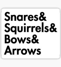 Snares& squirrels& bows& arrows....(BLACK FONT STICKER) Sticker