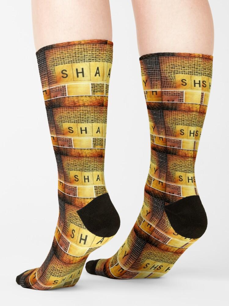 Alternate view of Shay socks, Shay mug, Shay travel mug, A gift for Shay, Hebrew name  Socks