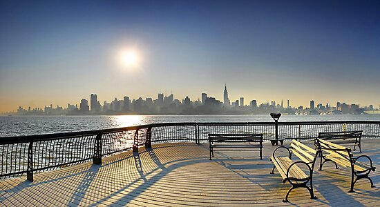 Sunrise Midtown Manhattan at the piers in Union City, New York by Zoltán Duray