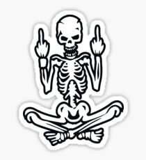 Awesome Middle Finger Skull Sticker