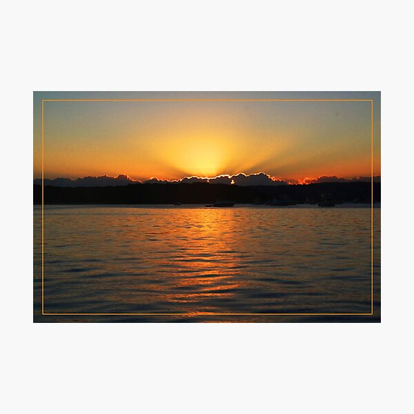 Sun setting at Moreton Bay Photographic Print