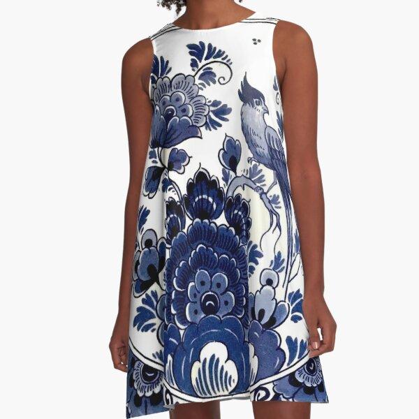 DUTCH BLUE DELFT : Vintage Blue Bird and Flowers Print A-Line Dress