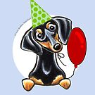 Black & Tan Dachshund Birthday Card by offleashart