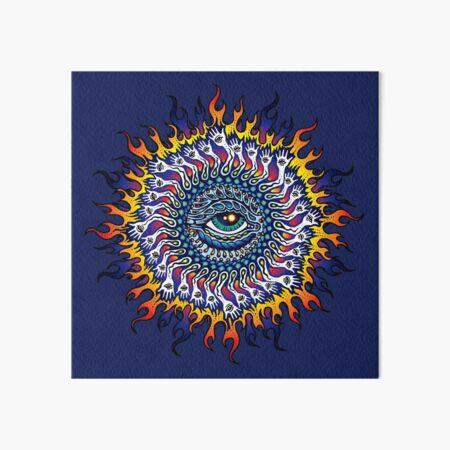 Psychedelic Eye Sun Art Board Print