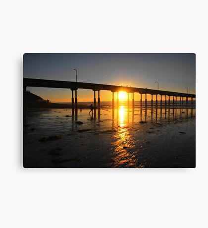 Sunset Through the Pier Canvas Print