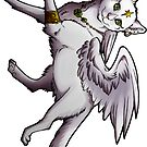 White Winged Kitty Sticker by cybercat