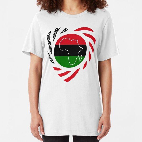 Black Murican Patriot Flag Series (Heart) Slim Fit T-Shirt