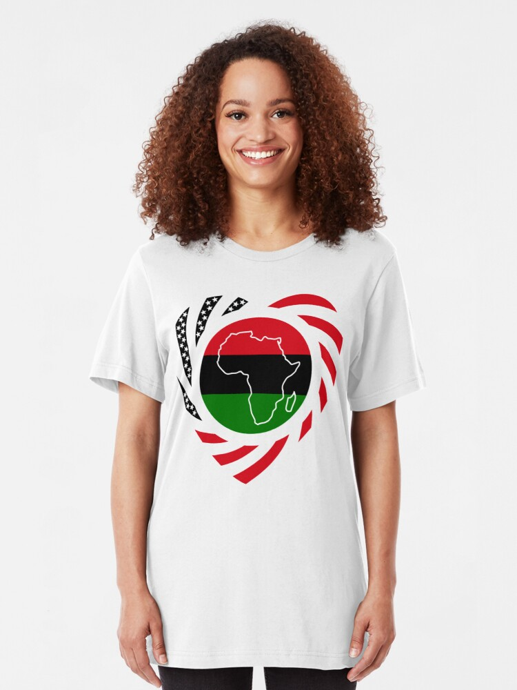 Alternate view of Black Murican Patriot Flag Series (Heart) Slim Fit T-Shirt