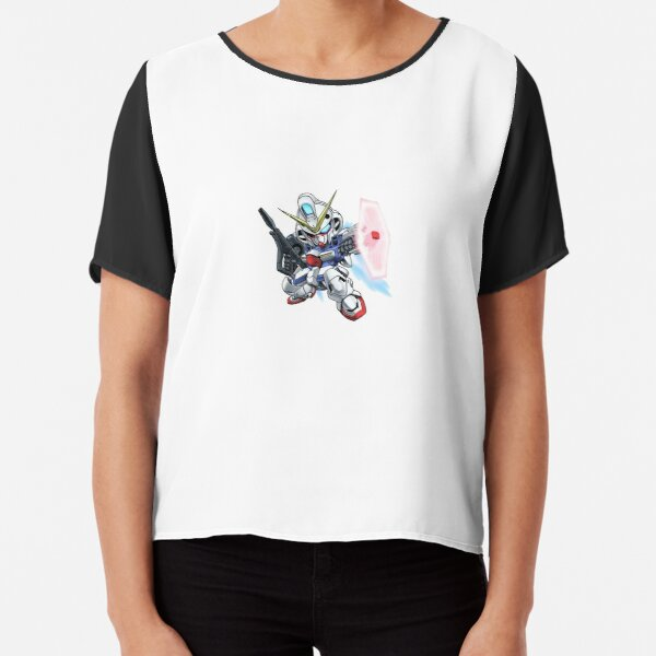 Gundam Exia SD Gundam Chibi Mobile Suit Crossbone Gundam Mecha Transformers Chiffon Top