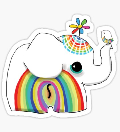little rainbow elephant Sticker