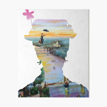 Mary Poppins flying above London Art Board Print