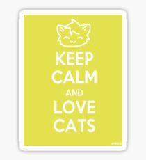 Keep Calm and Love Cats (Yellow) Sticker