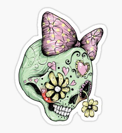 Green Sugar Skull Sticker
