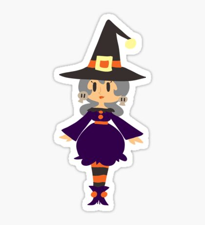 Cute Witch with Silver Hair Sticker